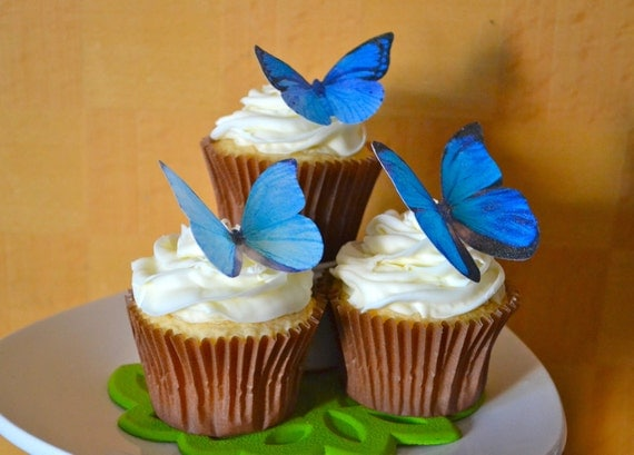 The Original EDIBLE BUTTERFLIES - Large Assorted Blue - Cake & Cupcake toppers - Food Decoration