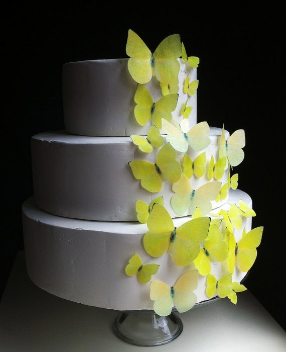 Wedding Cake Topper EDIBLE BUTTERFLIES - Assorted Yellow Buttercups set of 30 - Butterfly Wedding Cake & Cupcake toppers