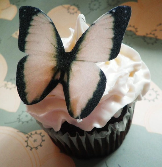 Wedding Cake Topper EDIBLE Butterflies - Wedding Cupcake Toppers -  Cake Decoration - Black and Cream