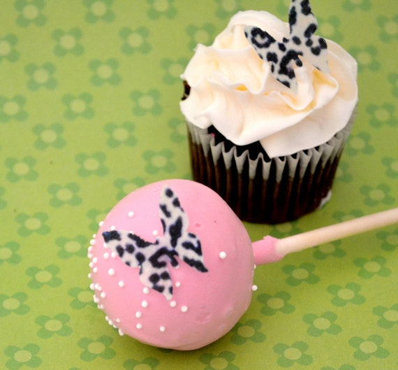 Edible Mini Butterflies - Leopard Print 2 dozen - Cake & Cupcake toppers - Food Decoration