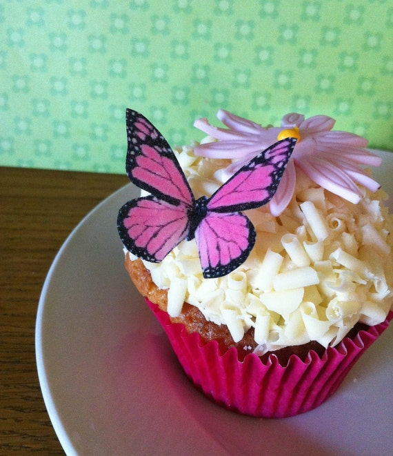 The Original EDIBLE BUTTERFLIES  - small Pink Monarch - Cake & Cupcake toppers - Food Decorations