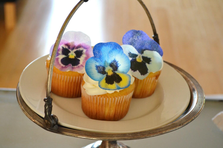 Edible Pansies Pink Purple Blue Cake & Cupcake