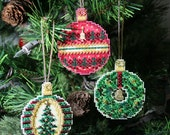 Round Christmas Jewels Cross Stitched and Beaded Holiday Christmas Tree Ornaments - Set of Three - Free Shipping