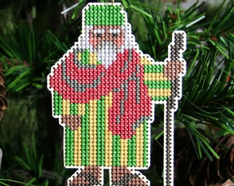 African Santa Cross Stitched Ornament - Free U.S. Shipping