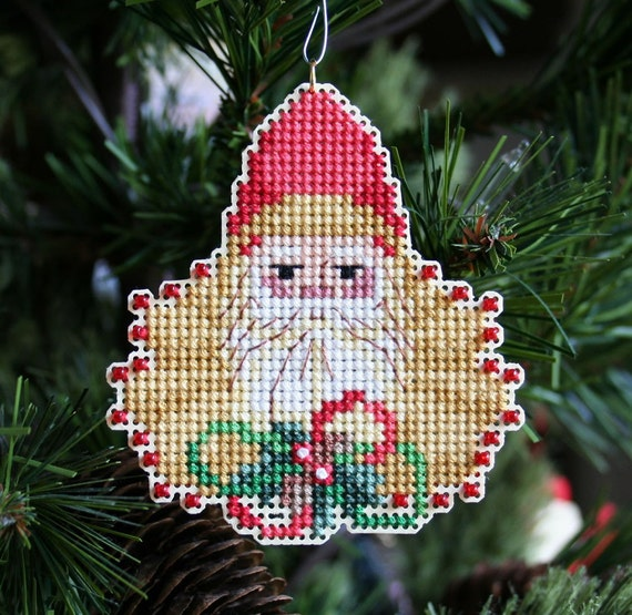 Elegant Santa Cross Stitched and Beaded Ornament - Free Shipping