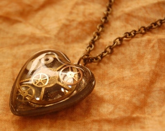Steam Punk Super Heart with Chain