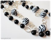 Black and White Tiered Necklace, Chunky Silver Plated Chain, Zebra Print - 80s, Kitsch