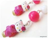 Hello Kitty Maiko Earrings with Fuschia Beads, Silver Plated - Japan