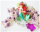 Little Mermaid Necklace, Figure Pendant on Green and Purple Beaded Chain in Silver