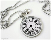 Pocket Watch Pendant Charm Necklace with Silver Heart, Ball Chain - Alice in Wonderland, Gothic Lolita