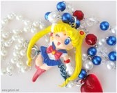 Sailor Moon Necklace, Beaded Pearl Chain, Very Long, Silver Plated - Anime