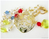 Sailor Moon Necklace, Acrylic Pendant on Beaded Gold Pearl Chain with Red, Blue and Yellow Accents