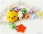 Kiiroitori Beaded Necklace, Character Pendant on Colorful Beaded Pearl Chain in Silver - Rilakkuma