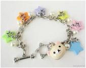Korilakkuma Colorful Kawaii Pastel Star Charm Bracelet in Silver