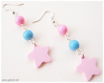 Kawaii Star Earrings, Pastel Pink and Blue, Very Long, Silver Plated - Fairy Kei