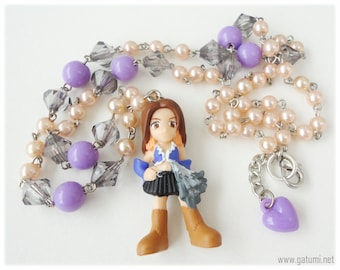 SET - Final Fantasy X-2 Songstress Lenne Long Salmon Pink and Purple Pearl Beaded Necklace and Earrings