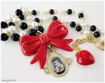 Tomoyo Chan OOAK Beaded Anime Necklace, Black and White Beaded Pearl Chain in Gold with Red Bow- Sweet Lolita, Cardcaptor Sakura