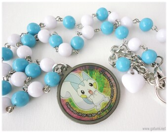 Pachirisu Pokemon Necklace, Round Pendant on White and Blue Beaded Chain in Silver