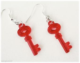 Red Key Earrings on Silver Plated Hooks