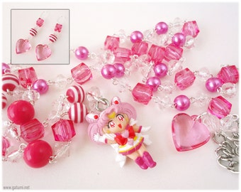 Chibiusa Sailor Moon Necklace, Sparkly Fuschia Rosary Chain with Earrings - Sweet Lolita
