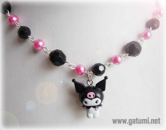 Kawaii Kuromi Black and Pink Pearl Beaded Choker Necklace