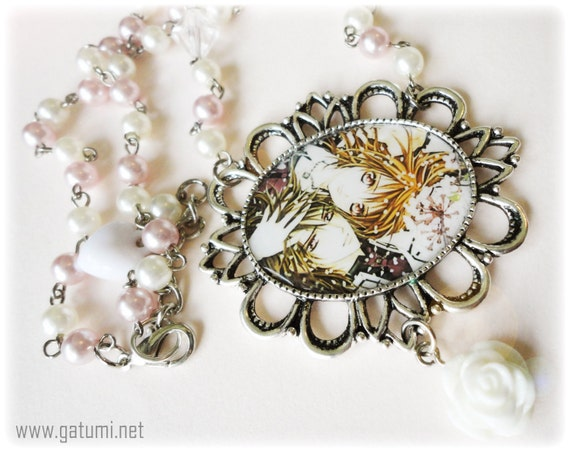 Reserved for nekogirlcloud - Vampire Knight, Kaname and Yuuki - Romantic Cameo Rose Pendant on Beaded white and Pink Pearl Chain