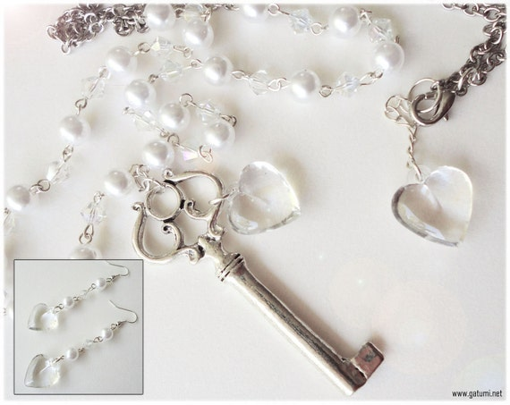 Silver Key Heart Necklace Set with White Faux Pearl Earrings, Very Long Beaded Chain - Romantic