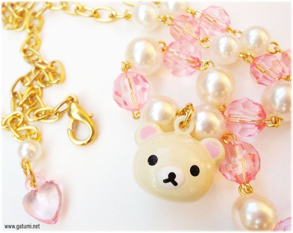 Kawaii Korilakkuma Necklace in Gold, White Pearls and Pink Faceted Acrylic Beads - Gyaru
