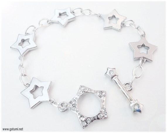 Silver Star Bracelet with Rhinestone Toggle Clasp