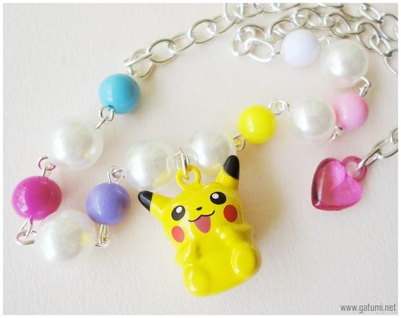 Kawaii Pikachu Necklace, Colorful Beaded Pearl Chain, Bell Charm, Silver - Pokemon Jewelry, Anime