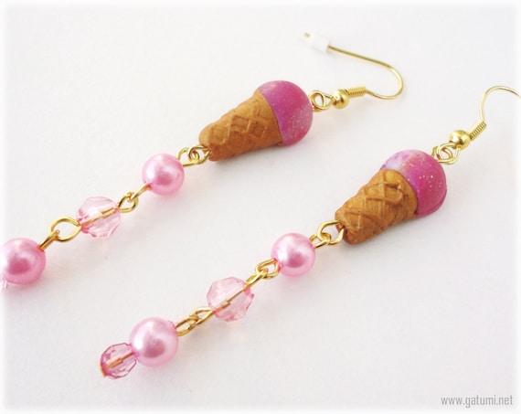 Kawaii Pink Ice Cream Earrings, Polymer Clay Charms with Pearl Beads in Gold - Sweet Lolita, Fairy kei