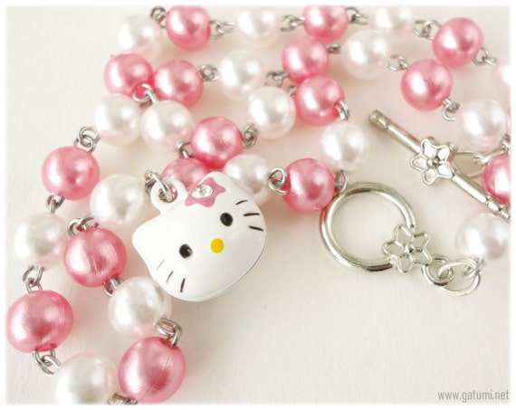 Bell Charm Hello Kitty Necklace with SilverToggle Clasp in Pink and White Pearl