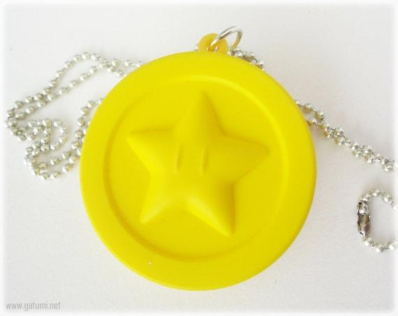 Squishy Ball Bracelet : Super Mario Star Coin Squishy Necklace Silver Tone Ball by gatumi