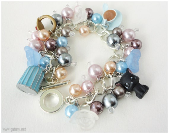 Afternoon Tea Party Charm Bracelet with Romatic Pearl Beads in Silver - Anime, Kuroshitsuji