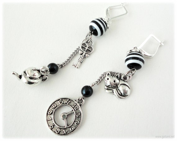 Long Asymmetrical Alice in Wonderland Earrings, with Beaded Black and White Stripe Accents and Mismatched Charms - Gothic Lolita