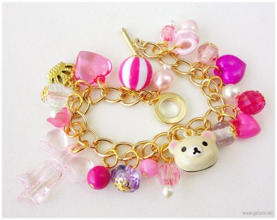 Kawaii Korilakkuma Bracelet, Chunky Gold Plated Chain with Fuschia Heart Charms, Bow, Flowers, Crown and Bell- Sweet Lolita, Gyaru