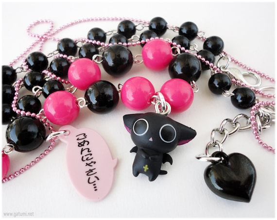 Vampire Kitty Necklace, Beaded Black and Fuschia Chain with Figure Pendant in Silver - Kawaii Jewelry, Oshare Kei