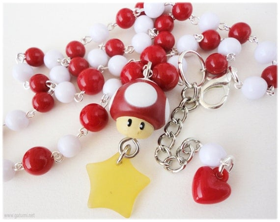 Super Mario Kawaii Mushroom Beaded Red and White Necklace in Silver