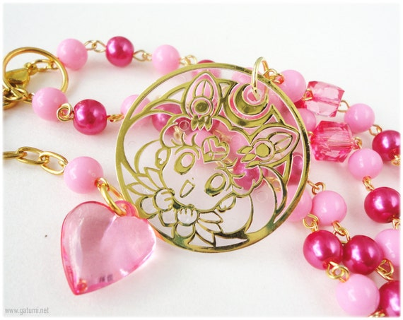 Chibiusa Beaded Necklace, Bubblegum Pink and Fuschia Beading in Gold - Sweet Lolita, Sailor Moon