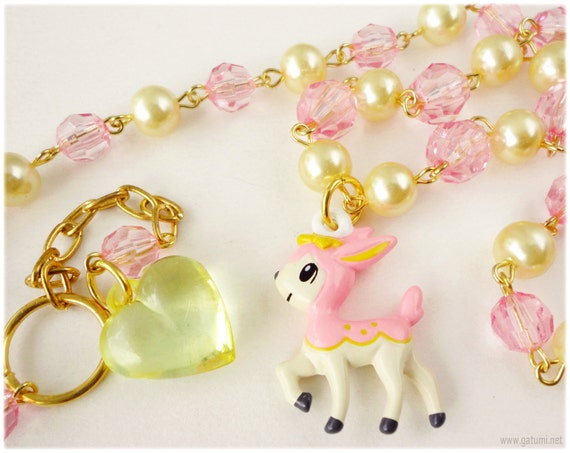 Spring Deerling Necklace, Beaded Pink and Gold Rosary Pearl Chain with Official Pokemon Charm - Anime, Kawaii