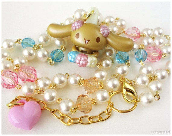 Cinnamoroll Mocha Necklace, Long Beaded Pearl Chain, Upcycled Toy Pendant, Gold - Fairy Kei