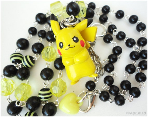 Long Pikachu Necklace, Black and Yellow Beaded Chain, Anime Figure Pendant, in Silver - Pokemon Jewelry
