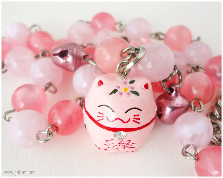 Pink Maneki Neko Necklace With Bell Charms Kawaii Jewelry