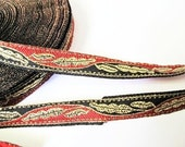 2 Yards - Golden Leaf in Black and Red Jacquard Ribbon Bow Sewing Fabric - size 11 mm
