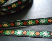 2 Yards - Gold and Silver in Green flower Jacquard Ribbon Bow Sewing Fabric - size 11 mm