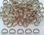 50 pcs  Silver Tone D Ring findings - size 8 x 14 mm