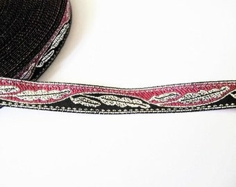 2 Yards -  Silver Leaf in Pink and Black Jacquard Ribbon Bow Sewing Fabric - size 11 mm