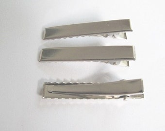 40 pcs - Silver tone rectangular Alligator  Hair clips   - size 30 mm