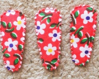 25 pcs -  Red Blossom Flower Hair Clip COVERS For Toddler - size 35 mm