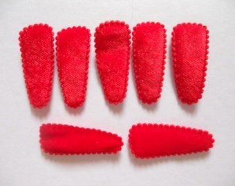 25 pcs - Toddler Felt hair clip COVER - RED - size 35 mm